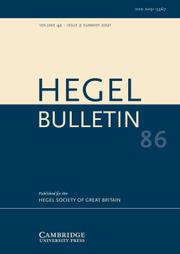 Hegel Bulletin Volume 42 - Issue 2 -