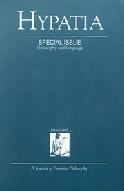 Hypatia Volume 7 - Issue 2 -  Special Issue: Philosophy and Language
