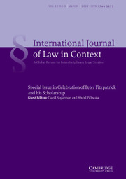 International  Journal of Law in Context Volume 17 - Special Issue1 -  Celebration of Peter Fitzpatrick and his Scholarship