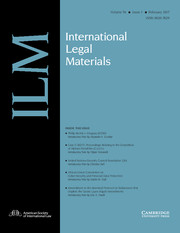 International Legal Materials Volume 56 - Issue 1 -