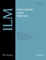 International Legal Materials Volume 57 - Issue 5 -