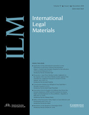 International Legal Materials Volume 57 - Issue 6 -