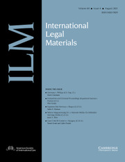 International Legal Materials Volume 60 - Issue 4 -