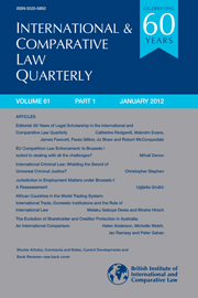 International & Comparative Law Quarterly Volume 61 - Issue 1 -