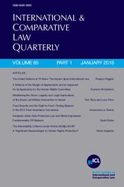 International & Comparative Law Quarterly Volume 65 - Issue 1 -