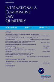 International & Comparative Law Quarterly Volume 66 - Issue 2 -