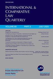 International & Comparative Law Quarterly Volume 69 - Issue 3 -