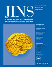 Journal of the International Neuropsychological Society Volume 13 - Issue 6 -