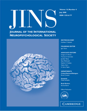 Journal of the International Neuropsychological Society Volume 14 - Issue 4 -