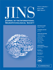 Journal of the International Neuropsychological Society Volume 15 - Issue 1 -