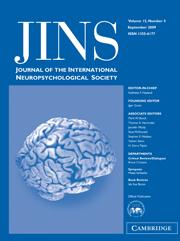 Journal of the International Neuropsychological Society Volume 15 - Issue 5 -