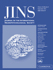 Journal of the International Neuropsychological Society Volume 18 - Issue 5 -