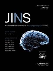 Journal of the International Neuropsychological Society Volume 20 - Issue 7 -
