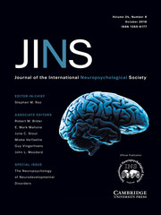 Journal of the International Neuropsychological Society Volume 24 - Special Issue9 -  Special Issue: The Neuropsychology of Neurodevelopmental Disorders