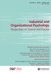 Industrial and Organizational Psychology Volume 10 - Issue 1 -