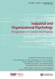 Industrial and Organizational Psychology Volume 10 - Issue 3 -