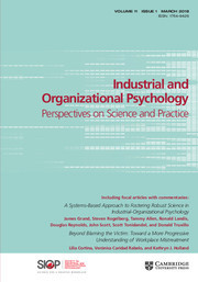 Industrial and Organizational Psychology Volume 11 - Issue 1 -