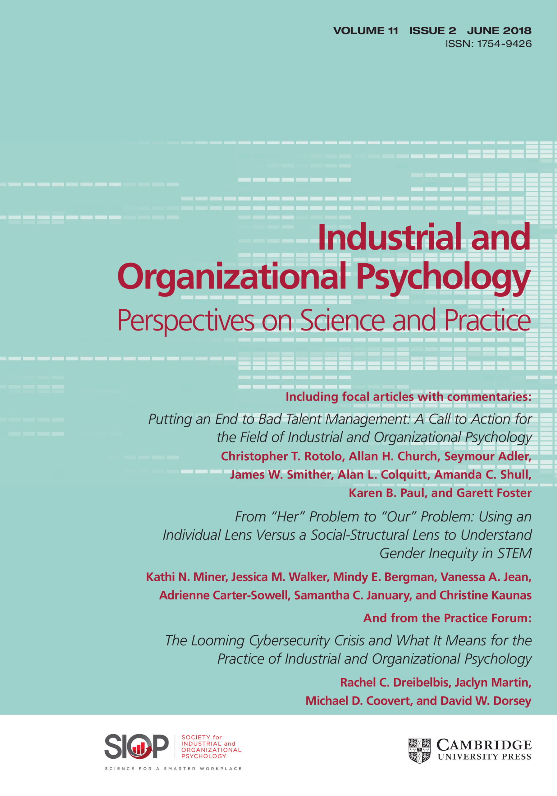industrial organizational psychology journals
