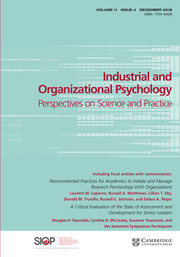 Industrial and Organizational Psychology Volume 11 - Issue 4 -