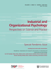 Industrial and Organizational Psychology Volume 14 - Special Issue1-2 -  Special Pandemic Issue