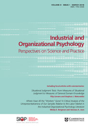 Industrial and Organizational Psychology Volume 9 - Issue 1 -