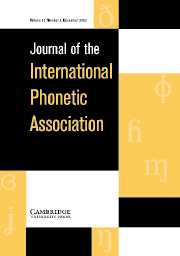 Journal of the International Phonetic Association Volume 33 - Issue 2 -