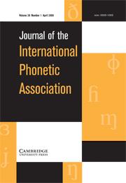 Journal of the International Phonetic Association Volume 38 - Issue 1 -