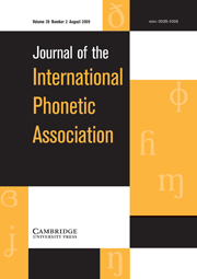 Journal of the International Phonetic Association Volume 39 - Issue 2 -