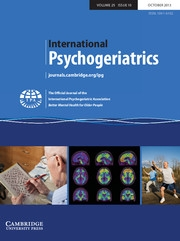 International Psychogeriatrics Volume 25 - Issue 10 -