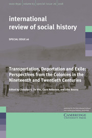 International Review of Social History Volume 63 - Special IssueS26 -  Transportation, Deportation and Exile: Perspectives from the Colonies in the Nineteenth and Twentieth Centuries