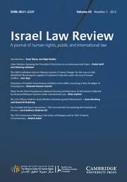 Israel Law Review Volume 45 - Issue 3 -