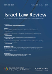 Israel Law Review Volume 54 - Issue 1 -