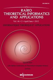 RAIRO - Theoretical Informatics and Applications Volume 46 - Issue 2 -  12th Italian Conference on Theoretical Computer Science  (ICTCS)