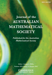 Journal of the Australian Mathematical Society Volume 103 - Issue 1 -