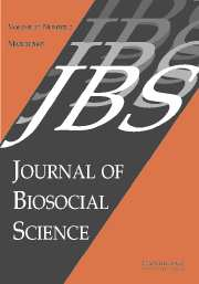 Journal of Biosocial Science Volume 37 - Issue 2 -