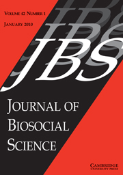 Journal of Biosocial Science Volume 42 - Issue 1 -