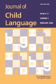Journal of Child Language Volume 32 - Issue 1 -