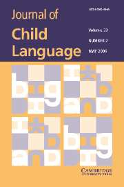Journal of Child Language Volume 33 - Issue 2 -
