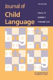 Journal of Child Language Volume 34 - Issue 1 -