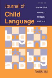 Journal of Child Language Volume 37 - Issue 3 -  Computational models of child language learning