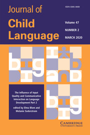 Journal of Child Language Volume 47 - Special Issue2 -  The Influence of Input Quality and Communicative Interaction on Language Development Part 2