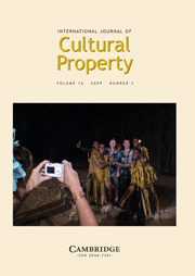 International Journal of Cultural Property Volume 16 - Issue 3 -  Pacific Discourses About Cultural Heritage and Its Protection