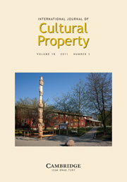 International Journal of Cultural Property Volume 18 - Issue 3 -