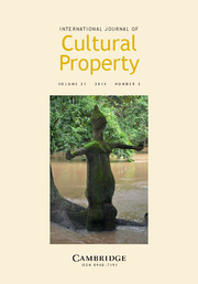 International Journal of Cultural Property Volume 21 - Issue 2 -