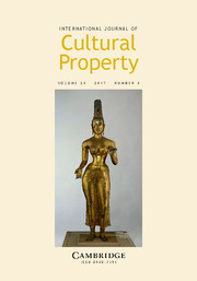 International Journal of Cultural Property Volume 24 - Issue 4 -