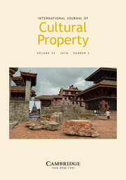 International Journal of Cultural Property Volume 25 - Issue 2 -