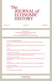 The Journal of Economic History Volume 69 - Issue 2 -
