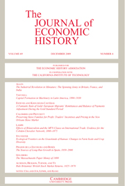 The Journal of Economic History Volume 69 - Issue 4 -
