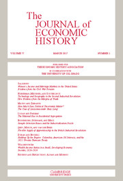 The Journal of Economic History Volume 77 - Issue 1 -