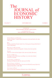 The Journal of Economic History Volume 78 - Issue 3 -